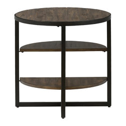 Jofran - Sherwood Pine Oval End Table With 2 Shelves and Metal Legs - Rustic nature themes combine with modern art in each piece of this table collection. This living room end table has an industrial vibe that offers high style at an affordable price point. The table's top and shelves are crafted from reclaimed pine for an upcycled look while metal beams provide strength with an edge of modern art. The general scale of the piece makes it ideal for use with sofas, loveseats and chairs and the offset shelves can be used as storage or serve as a contemporary aesthetic of shape and form. This side table works best in transitional and industrial homes but can also be used in many casual, contemporary and cottage designs.