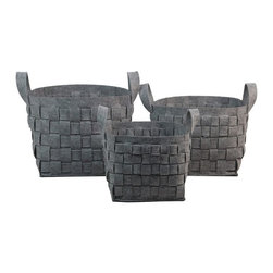None - Grey Thick Weave Storage Containers (Set of 3) - Perfect for storing and organizing your essential items,these thick wool baskets will keep your home looking tidy in style. Able to nest within each other in a space saving design,the grey color adds to these baskets appeal.