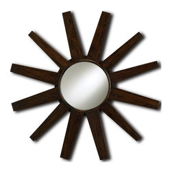 "Kathy Kuo Home - Modern Reclaimed Mahogany Starburst Mirror - We'd call this mid century fabulous! A modern mahogany starburst mirror,  perfectly finished using reclaimed salvaged wood. So versatile, this piece can liven up rustic, vintage, eclectic and deco spaces with ease. Alone or in a grouping, this ""sun"" really shines."
