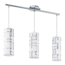 Eglo - Bayman 3-lt Island Pendant - Bayman 3-lt Island Pendant. Features: Finish: Chrome, Bright linear chrome lines over a reflective white glass, Field-cuttable cord, Lamping: 3 x 100W medium base A19 (Not Included).