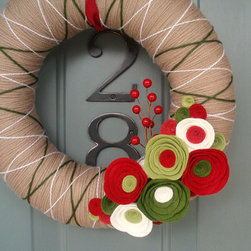 Yarn Wreath, Holiday Special by Itz Fitz - This wreath will add a fun and crafty look to your front door. It would also be a cute addition to a child's bedroom door.