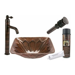 Premier Copper Products - Square Feathered Copper Vessel w/ORB Faucet - BSP1_VS16FDB Premier Copper Products Square Feathered Vessel Hammered Copper Sink with ORB Single Handle Vessel Faucet, Matching Drain and Accessories
