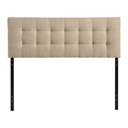 Lily Full Fabric Headboard - Introduce some boxy pizazz with the lavish design of the Lily headboard. Intended to be versatile for a wide range of modern bed styles, Lily's deep button tufting, and carefully aligned trim, present a uniform piece meant to cast prominence upon your room. Fully upholstered in padded fabric, Lily is a narrow piece meant to convey a strong sense of expansiveness within your entire surroundings. Fits full size beds.