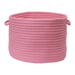 "Colonial Mills, Inc. - Stripe It, Bold Pink Utility Basket, 18"" X 12"" - Are you blushing? This flirty basket will help you hide and haul everything from laundry and pool towels to books and toys. The braided polypropylene in bold pink is stain and fade resistant for long-lasting durability, versatility and adore-ability indoors or out."