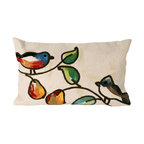 """Trans-Ocean Inc - Song Birds Cream 12"""" x 20"""" Indoor Outdoor Pillow - The highly detailed painterly effect is achieved by Liora Mannes patented Lamontage process which combines hand crafted art with cutting edge technology. These pillows are made with 100% polyester microfiber for an extra soft hand, and a 100% Polyester Insert. Liora Manne's pillows are suitable for Indoors or Outdoors, are antimicrobial, have a removable cover with a zipper closure for easy-care, and are handwashable.; Material: 100% Polyester; Primary Color: Cream;  Secondary Colors: green, orange; Pattern: Song Birds; Dimensions: 20 inches length x 12 inches width; Construction: Hand Made; Care Instructions: Hand wash with mild detergent. Air dry flat. Do not use a hard bristle brush."""