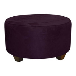 Skyline Furniture - Round Upholstered Cocktail Ottoman - Micro-suede fabric. Polyurethane foam fill. 100% polyester upholstery. Made from premier solid wood. Made in USA. No assembly required. 31 in. Dia. x 18 in. H (29 lbs.)