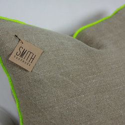 Square Linen Cushion Cover, Neon Chartreuse by Smith Handmade - I think these pillows would add a touch of raw texture plus a modern twist with the neon trim. Just perfect!