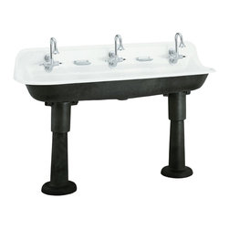Kohler Brockway Wash Sink - Finally a picture of the fabulous Brockway sink complete with the industrial cast iron legs. Legs can be ordered separately (they're a bit pricey), but the sink doesn't have to be installed with them - it can be done as a wall mount or recessed into a countertop.