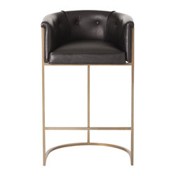 Arteriors - Calvin Barstool, Black - This stool has terrific style! It has a low curved back and top-grain upholstery to cradle you in comfort and a streamlined, stainless steel frame with a polished nickel or antique brass finish.