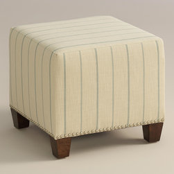 "World Market - Sky Fritz McKenzie Ottoman - Cozy up with our custom-made Charcoal Fritz McKenzie Ottoman, handcrafted in the U.S.A. with cotton blend upholstery and nail head trim. Showcasing a stitched stripe pattern on an ivory ground, this plush ottoman makes a bold statement. Pair two ottomans for a dramatic ""bench"" at the foot of the bed. Shop our coordinating bed or headboard in the same custom fabric for a pulled together look."