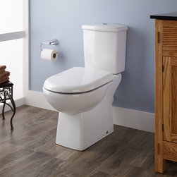 Stapleton Dual-Flush European REAR OUTLET Toilet - Two Piece - Elongated - White - The sleek, two-piece Stapleton Toilet has a comfortable, elongated bowl and a water-conserving design.
