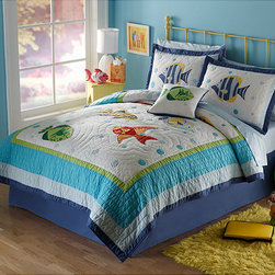 None - Colorful Sea Applique 3-piece Quilt Set - This applique quilt set is sure to bring a splash of color to any child's bedroom decor. This prewashed soft cotton bedspread and two shams are highlighted with bright sea-themed appliques and patchwork. It's machine washable for ease of care.