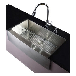 Kraus - 36 in. Farmhouse Single Bowl Stainless Steel Kitchen Sink - Add an elegant touch to your kitchen with a unique and versatile undermount sink from Kraus