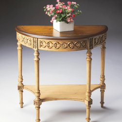 Butler - Butler Artists' Originals Demilune Console Table In Pine N' Cream - Elegant traditional design crafted from select solid woods  wood products and choice pine veneers. Features a cream hand painted finish and pine veneer top with a decorative hand painted motif. Carved resin appliques. One center drawer.