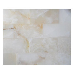 """Marbleville - White Onyx 3"""" x 6"""" Polished Brick Pattern  Marble Mosaic Tile - Premium Grade White Onyx 3"""" x 6"""" Polished Brick Pattern Marble is a splendid Tile to add to your decor. Its aesthetically pleasing look can add great value to the any ambience. This Mosaic Tile is constructed from durable, selected natural stone Marble material. The tile is manufactured to a high standard, each tile is hand selected to ensure quality. It is perfect for any interior/exterior projects such as kitchen backsplash, bathroom flooring, shower surround, countertop, dining room, entryway, corridor, balcony, spa, pool, fountain, etc."""