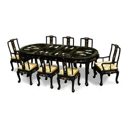 "China Furniture and Arts - 96in Black Lacquer Pearl Figure Motif Oval Dining Table with 8 Chairs - The grandiose of this dining set catches the eye of anyone upon his/her first encounter. Made of wood and superbly hand applied with shiny black lacquer, the table and its eight matching chairs are decorated with mother of pearl Chinese maiden figures. The legs are designed with tiger-claw feet. Undoubtedly this dining set will contribute to the ambience when one entertains at home. Two leaves each at 20""L can be removed when full length is not needed. Topped with 4 pieces 1/4'""thick glass tops. Silk cushions are sold separately."