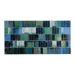 Uttermost Glass Tiles Modern Art - Hand painted oil on canvas over wooden stretchers. Vibrant blues and greens are used in creating this hand painted artwork on canvas. The high gloss and glitter finish make this a mesmerizing piece of art. The canvas is stretched and applied to wooden stretching bars. Due to the handcrafted nature of this artwork, each piece may have subtle differences.