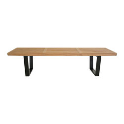 Nelson Style Wooden Bench-Natural - Contemporary wooden bench is an ideal addition to your home decor. Living room furniture is functional for everyday use yet beautiful enough for whole home appeal. Classic wooden bench fits into any theme wonderfully. The bench serves equally well as table, platform base or seating, depending on n d and situation. It is constructed of solid hardwood and the bench features durable quality with finger-jointed legs for superior strength. Bench measures 60 inches wide x 18.5 inches d p x 14 inches high. Bench top measures 1.5 inches thick.