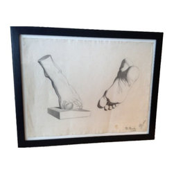 ITALIAN ANTIQUE PENCIL DRAWING OF FEET - An original Italian antique pencil drawing of feet from the 19th Century.  Ask an artist and they will tell you that the art of drawing hands and feet is  difficult and takes practice.  This has been a challenge of art students for centuries. This beautiful and seemingly simple pencil study of feet was done by Italian Florentine artist Morando Morandi while still a student. Signed by both Morandi and his professor, this is a wonderful composition.  The drawing has been custom framed using archival materials.