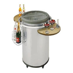 Vinotemp - Party Cooler w 2 shelves - Rolling beverage fridge. White color. Capacity: 80 pc., 12 oz. cans / approximately 15 gal.. Inside: 17.75 in. Dia. top and 19 in. D. Overall: 33.5 in. Dia. x 36.5 in. H (60 lbs.). No assembly required. Two removable side shelves. One removable wire display basket. Easy-glide wheels. Quick-access fold-able see-thru top with two handles. Adjustable temperature control. Interior divider to create two storage spaces. Temperature Range: 36� - 46� F. WarrantySimply plug it in before the party, fill it with your beverages of choice, and then unplug it and roll it into place for the duration of your party. The top-opening design ensures that your drinks stay cool without ice or electricity for up to 10 hours! By using a tempered glass top, guests can easily see the refrigerator's contents before opening the lid. The Vinotemp Party Cooler comes equipped with 2 side shelves for serving, as well as a wire basket that hangs on the side of the cooler for displaying bottles.