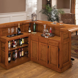 Hillsdale Furniture - Hillsdale Classic Oak Large Bar w/ Side Bar - The Hillsdale Classic Oak Large Bar w/ Side Bar will be a beautiful addition to your living room. This bar is made of oak and finished in an attractive oak veneer. Large cabinets and drawers provide ample space for your wine and liquor collection. There are matching stools available that have comfortable padded and swivel seats.