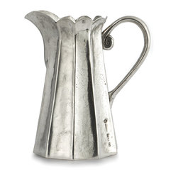Arte Italica - Vintage Tall Scalloped Pitcher - Add a piece of Italian craftsmanship to your decor. Hand made using age-old techniques, this pewter pitcher is beautifully detailed and given a distressed finish for a timeless vintage vibe.