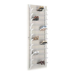 "Whitmor - OTD Shoe Rack 36 Pairs - Whitmor Over The Door Shoe Rack 36 Pair - Dimensions: 7.5"" x 22"" x 74.5"" - Easy assembly.  Perfect for closets or anywhere in the home.  Durable white resin sides and non slip coated steel bars.  This item cannot be shipped to APO/FPO addresses. Please accept our apologies."