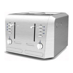 DeLonghi - DeLonghi CTH4003 4 Slice Toaster Multicolor - CTH4003 - Shop for Toasters from Hayneedle.com! The DeLonghi CTH4003 4 Slice Toaster will serve all of your toasting needs. It has a four-slice capacity and the slots are extra-wide and extra-long to accommodate most types of bread bagels and English muffins. It has an adjustable thermostat with electronic browning control a reheat function to warm your toast and a defrost function to thaw frozen treats before toasting. The die-cast controls and stainless steel housing make an attractive addition to any kitchen and the extra-deep crumb tray slides out easily and is dishwasher-safe for easy cleanup. Additional Features:Extra-deep crumb tray is dishwasher-safeDie-cast controls stainless steel housingAdjustable thermostat electronic browning controlAbout De'Longhi USAFounded over a century ago when the De'Longhi family opened a workshop in Treviso Italy the De'Longhi brand set the standard for handcrafted quality and expert craftsmanship. Three generations later the people at De'Longhi believe design is timeless and strive to find beauty in everyday objects to bring style to your home. Expert manufacturing is also high on their priorities. De'Longhi tests their espresso machines to ensure that tens of thousands of perfect cups can be brewed by a single machine. They put all their products through the same rigorous tests and their factory features an entire wing devoted to product testing. De'Longhi works under the philosophy that the most beautiful product in the world is worthless if it's not built to last. Finally De'Longhi believes design is so much more than aesthetics. Design is ways to make people's lives easier. From their patented single touch systems to self-adjusting temperature controls they believe it's the small details that make a huge impact on how people enjoy a product.