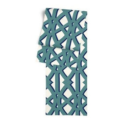 Teal Trellis Custom Table Runner - Get ready to dine in style with your new Simple Table Runner. With clean rolled edges and hundreds of fabrics to choose from, it's the perfect centerpiece to the well set table. We love it in this oversized outdoor modern trellis in teal and blue. Phew, no pruning needed!