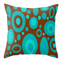 Crash Pad Designs - CrashPad Designs Mod Throw Pillow - Rudolph - Add a bubbly design to your decor, with this playful pillow. The pleasing blue and brown pattern is printed on both sides of this 100 percent spun polyester poplin fabric pillow, for perfect versatility of placement. This retro-inspired pillow features a hidden zipper closure and a polyester fill insert, and is fully machine washable.