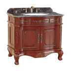 "Bosconi - 37"" T-3803 Classic Single Vanity - Burgundy - This Bosconi Classic Single Vanity is a 36 inch masterpiece. Emblazoned from top to bottom with intricately carved designs, featuring a large two-door cabinet for storing all essentials. This model also has a beautiful Dark Emperador Marble countertop complimented by rich Burgundy finish and Antique Brass hardware, to complete the entire look of Classic sophistication."