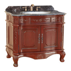 """Bosconi - 37"""" T-3803 Classic Single Vanity - Burgundy - This Bosconi Classic Single Vanity is a 36 inch masterpiece. Emblazoned from top to bottom with intricately carved designs, featuring a large two-door cabinet for storing all essentials. This model also has a beautiful Dark Emperador Marble countertop complimented by rich Burgundy finish and Antique Brass hardware, to complete the entire look of Classic sophistication."""