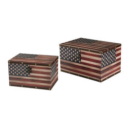 Sterling Industries - Sterling Industries 51-10106/S2 Set Of 2 American Flag Boxes - Box (2)