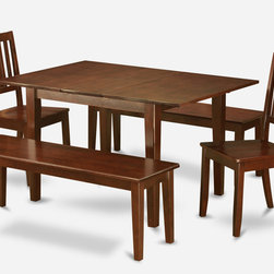 """East West Furniture - Milan 5Pc Set with Dining Table, 2 Dudley Wood Seat Chairs and 2 Benches - Milan 5Pc Set with Rectangular Table Featured 12 In Butterfly Leaf , 2 Dudley Wood Seat Chairs and 2 52-In Long Benches; Rectangular dining table is designed in contemporary style with clean angles and sleek lines.; Table and chairs are crafted of fine Asian solid wood for quality and longevity.; Chairs are available with either wooden seats or upholstered seats to suit preference and desired motif.; Table features a standard butterfly leaf for convenient extension.; Ladder back chair style is sturdy, durable, and is ideal for classic decor in any kitchen or dining room.; Dinette sets are available in either rich Mahogany or exquisite Saddle Brown finish.; Weight: 171 lbs; Dimensions: Table: 42 - 54""""L x 36""""W x 29.5""""H; Chair: 18""""L x 18""""W x 38""""H; Bench: 52""""L x 16""""W x 18""""H"""