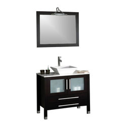 """Cambridge - Cambridge 36"""" Solid Wood & Porcelain Single Vessel Sink Vanity / Chrome Faucet - This vanity is a complete set which includes a Solid wood Espresso colored cabinet, as well as a pristine white porcelain counter top with vessel sink and there is a matching wood trimmed mirror. The two doors and two drawers have soft close hinges. All of the plumbing fixures are included and include the chrome single stem faucet, p trap, supply lines and drain."""