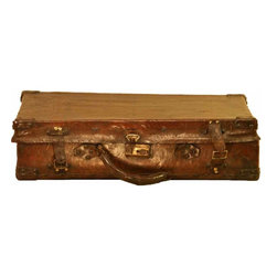 Leather Suitcase - Vintage Leather Suitcase This suitcase is worn leather with the orignial hardware and traditional vibrant floral lining.