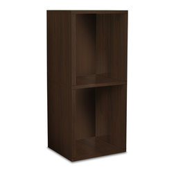 Way Basics - Way Basics Eco 2 Shelf Narrow Bookcase, Espresso - You'll feel good about this sleek, simple shelf. It assembles in minutes (no tools or hardware) and is strong enough to hold a heavy load. Plus, it's formaldehyde- and VOC-free and made from recycled paper. Good for you, good for the Earth — just plain good!
