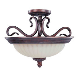 Maxim Lighting - Maxim Lighting 2781SVGB Via Roma Greek Bronze Semi-Flush Mount - 2 Bulbs, Bulb Type: 75 Watt Incandescent