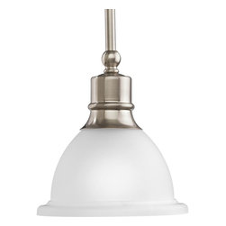 Progress Lighting - Progress Lighting Madison Transitional Mini Pendant Light X-90-8705P - A chic mini pendant light by Progress Lighting, this lovely fixture will make a beautiful addition to any home. The white etched glass shade ensures a brilliant quality of light, and the brushed nickel finish gives off a modern touch.