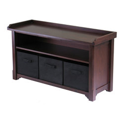 "Winsome Wood - Winsome Wood Verona Storage Bench w/ 3 Foldable Black Color Fabric Baskets - Storage Bench w/ 3 Foldable Black Color Fabric Baskets belongs to Verona Collection by Winsome Wood Verona bench with shelf, seat and 3 black fabric containers is a great addition to entry ways, bedrooms, craft rooms and family rooms. The walnut finished bench is 40""L x 14.2""D x 22""H. There is a seat for sitting, a shelf for storage and the 3 black fabric Bench (1)"