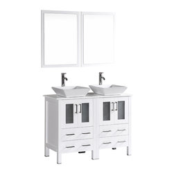 """Bosconi - 48"""" Bosconi AB224S Double Vanity, White - Explore a classically modern touch with this 48"""" glossy white Bosconi double vanity set. The ceramic, square vessel sinks and perfectly coordinating mirrors lend to a smart and efficient design. Features include two spacious cabinets with soft closing doors, as well as, two large pull out drawers. Plenty of space to store your towels, toiletries and bathroom accessories."""