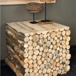 Bobo Intriguing Objects Stacked Wood Side Table - These tables will bring a bit of Paul Bunyan chic into your home! They add a natural element, texture, and sophisticated rustic to any room in the house. Use them as a side table in a contemporary living room, or as nightstands in your cabin.