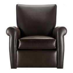 Duvall Leather Swivel Recliner - The Duvall Leather Swivel Recliner combines two popular motions: a 360 swivel and two degrees of recline, full and half. With its traditional rolled arms and exposed stitching, this classic style leather chair blends with many decorating styles.