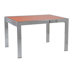 Euro Style - Duo Orange & Chrome Rectangular Table - Tempered glass top. Chromed steel base. 1-Year manufacturer's warranty. 47.5-95 in. L x 35.5 in. W x 29.5 in. H (134.5 lbs.)Grand ideas for small spaces, the smooth and clean geometric shapes give your rooms a trendy, up-to-date look. The furniture design make your rooms stylish and sophisticated, symbolizing your self confidence.