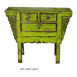 Chinese Lime Green Lacquer Old Side Console Table - This cabinet is painted with modern lime green lacquer color. With its old rustic body, its vintage finish creates an interesting mix of old and new. It is a decorative storage cabinet for the living room or office.