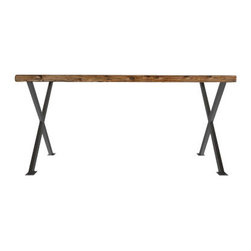 """Urban Wood Goods - Industrial Modern X Frame Reclaimed Wood Desk - Thick, 72"""" x 30"""" - Old growth reclaimed douglas fir planks salvaged from deconstructed century old buildings from the midwestern US, lend a unique look to all of our Urban Wood Goods' tables and benches. Carefully selected and finished by hand, the rustic modern reclaimed wood table tops are complemented by modern steel x frame bases. Looking for seating as well? Add a dining bench to evoke a casual and more intimate dining experience on one side or both and they provide more seating than individual chairs. Green furniture made to last."""