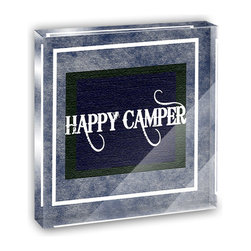 "Made on Terra - Happy Camper Denim Blues Mini Desk Plaque and Paperweight - You glance over at your miniature acrylic plaque and your spirits are instantly lifted. It's just too cute! From it's petite size to the unique design, it's the perfect punctuation for your shelf or desk, depending on where you want to place it at that moment. At this moment, it's standing up on its own, but you know it also looks great flat on a desk as a paper weight. Choose from Made on Terra's many wonderful acrylic decorations. Measures approximately 4"" width x 4"" in length x 1/2"" in depth. Made of acrylic. Artwork is printed on the back for a cool effect. Self-standing."