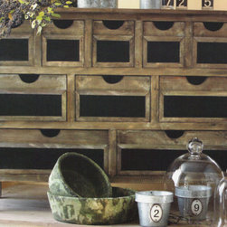 Wooden Chalkboard Hutch - Ten fabulous drawers for storage, with sliding blackboard inserts for a customized look.  So many uses for this functional storage piece.