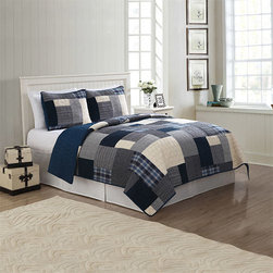 Pem America - Indigo Blues Blue Two-Piece Twin Quilt Set - - Classic patchwork design with 100% cotton face and filling. Features deep menswear looks for that casual bedroom  - Set Includes: Twin Quilt 1 Standard Pillow Sham (20x26 Inches)  - Made with 100% Natural Cotton  - Pre-Washed For Comfort and Durability.  - Cleaning Care: Machine Wash Cold/Gentle Do Not Bleach Tumble Dry Low. Pem America - QS8797TW-2300