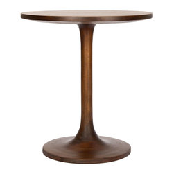 """Safavieh - Nate Brown Round End Table - The classic Nate end table offers contemporary interiors fresh and engaging style. A sleek hourglass base rises to showcase the furnishing's round wood surface for bold modernity. 19.6""""W x 19.6""""D x 20.8""""H; Bayur wood; Warm amber brown finish; Arrives fully assembled"""